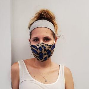 Sequin leopard masks